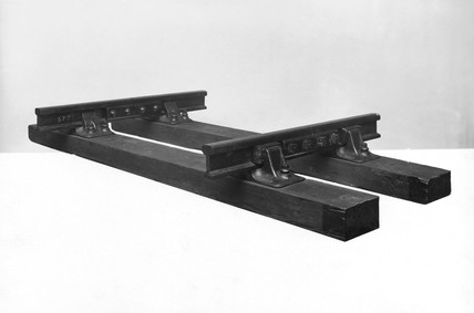 British standard steel rails, cast iron chairs and wooden sleepers, 1924.