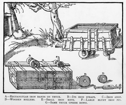 Early form of primitive railway, c 1550.
