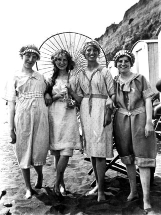 Four young Edwardian women in bathing costu