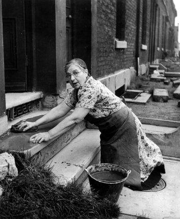 Scrubbing the doorstep, 28 September 1946.