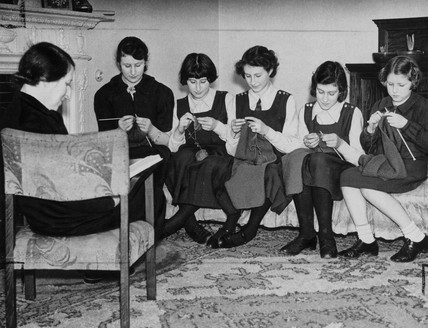 'A family knitting circle', 7 February 1940