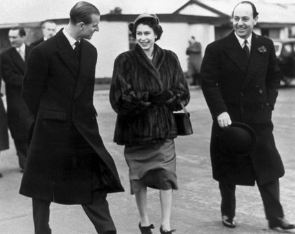 Princes Elizabeth and the Duke of Edinburgh.
