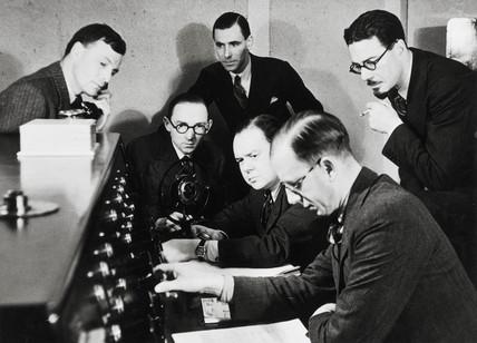 Broadcasting Christmas radio at the BBC, c 1932.