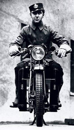 Motorcycle telegram mesenger, c 1930s.