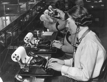 Sending telegrams, 1 June 1935.