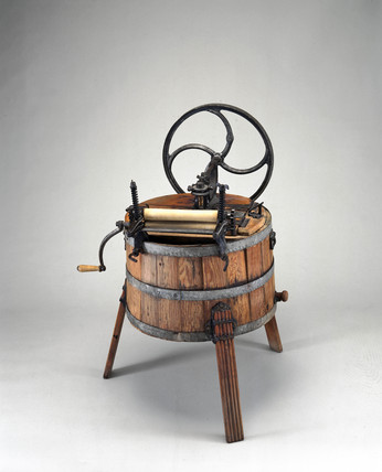 Hand operated wooden washing machine, 1890.