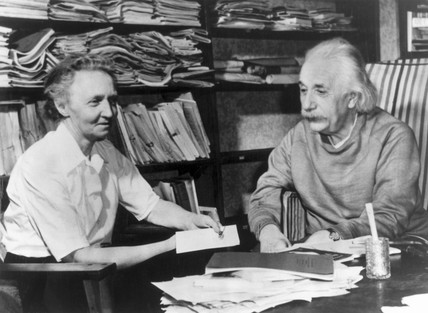 Physicists Albert Einstein and Irene Joliot-Curie, c 1940s.