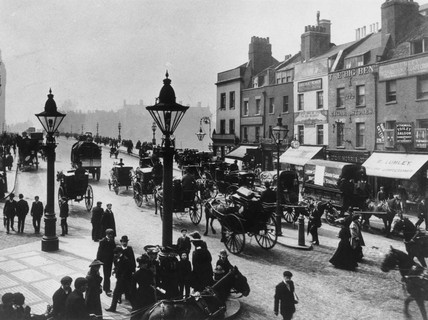 Street scene near Westminster Bridge, London, c 1900.