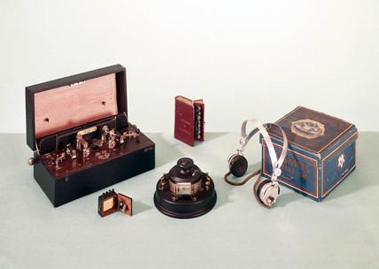Crystal radio sets, c 1920s.