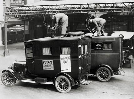 GPO Wireles Investigation Service dectector vans, c 1920.