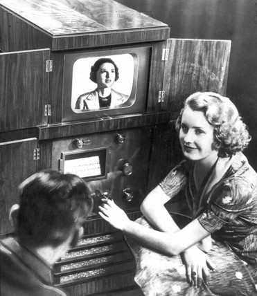 Demonstrating home television reception, 1936.