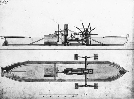 Robert Fulton's original design for steamboat, 1803.