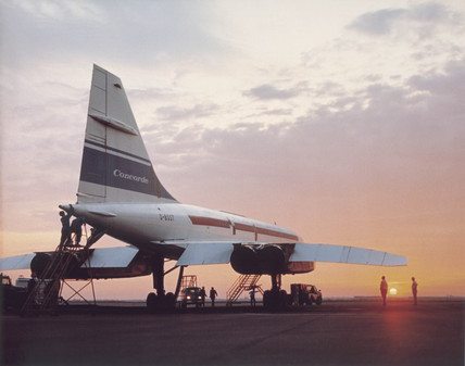 Concorde prototype stationary on a runway.