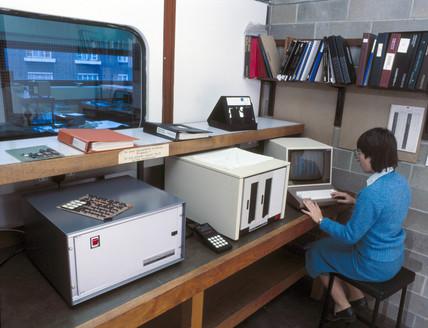 City University computer terminal, London, 1970s.
