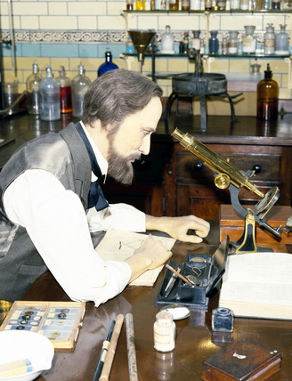 Chemist at work in government laboratory, 1895.