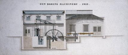 Gun-boring machinery, Rio de Janeiro, Brazil, 1813.