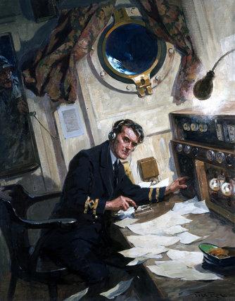 Radio operator on board a ship, 1940s.