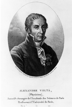 Alesandro Anastasio Volta, Italian physicist and inventor, late 18th century.