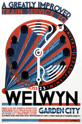 'Welwyn Garden City', railway poster, c 1930s.