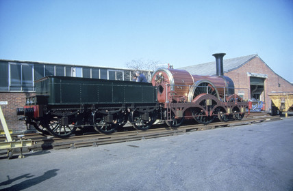 'Iron Duke' 4-2-2 locomotive with tender, 1851.