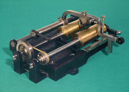 Phonograph cylinder duplicator, c 1897.
