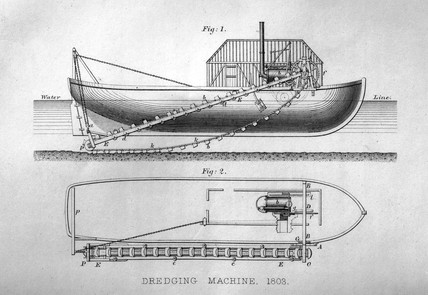Trevithick's steam dredger, 1803. Print. Ri