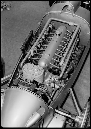 European Auto Racing Photographer on Glass  Zoltan    Auto Union V16 Racing Car Engine  Germany  1935 1937