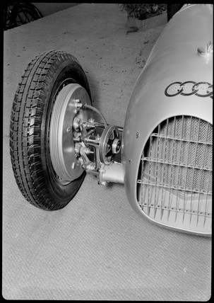 Suspension and wheel of Auto-Union V16 racing car, Germany, 1930s.