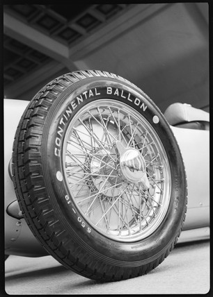 European Auto Racing Photographer on Glass  Zoltan    Front Wheel Of A 1911 Auto Union Racing Car  C 1934