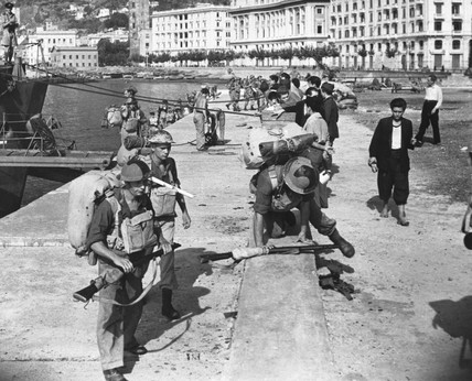 British troops landing at Salerno docks, Italy, WWII, 11 September 1943.