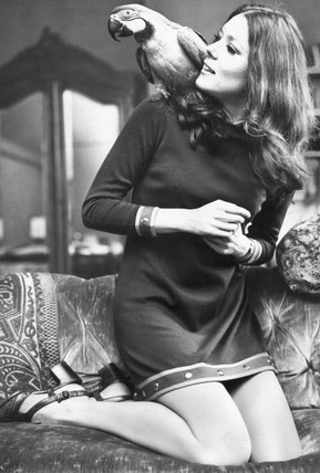 Diana Rigg with her parrot, May 1970.