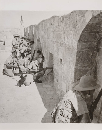 British soldiers on the walls of Jerusalem, 1938.