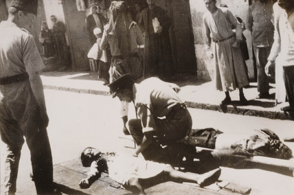 Casualties in an explosion, Jerusalem, 1938.