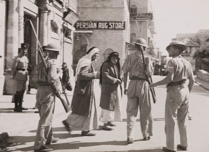 British troops at Jaffa Gate, Jerusalem, 1938.
