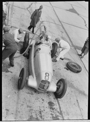 Mercedes-Benz W25 GP at a pit stop, Germany, 1930s.