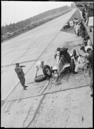 Hans Geier's Mercedes in the pits, Germany, 1930s.