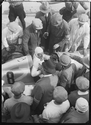 Hans Geier at the finish, Germany, 1930s.