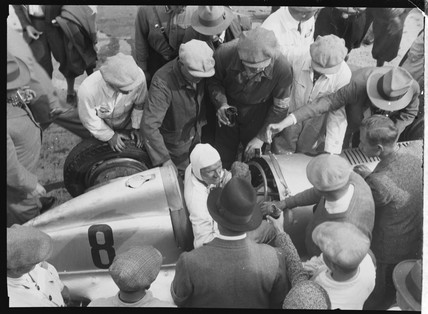 Hans Geier at the finish, Germany, 1930s.
