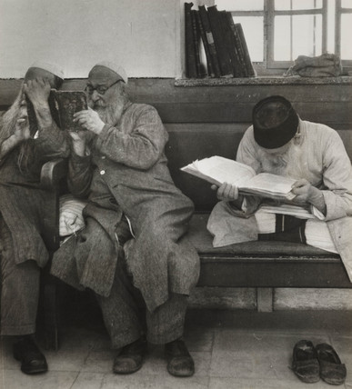 Jewish men reading scriptures, Jerusalem, 1945.