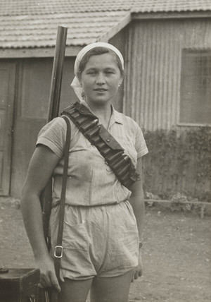 Jewish markswoman, Palestine, c 1935.