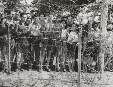 Jewish men and boys at Poppendorf Camp, Austria, 1947,