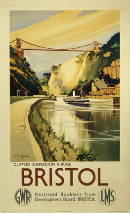 'Clifton Suspension Bridge, Bristol', GWR/LMS poster, c 1936.