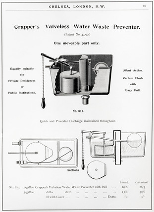 Crapper's valveless water waste preventer, 1902.