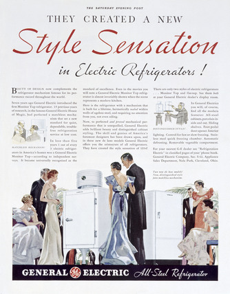 General Electric all-steel refrigerator, advertisement, 1934.