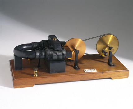 Apparatus for demonstrating electromagnetic induction, 1889.