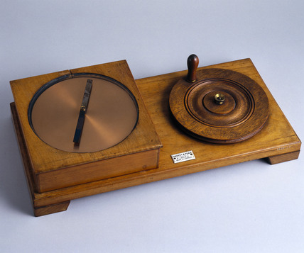 Rotating copper disc and magnet used for demonstrating Arago's motion, 1889.