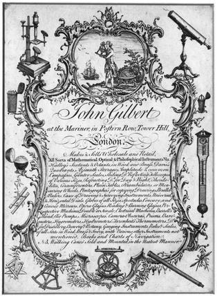 Trade card of John Gilbert, instrument maker, London, 19th century.