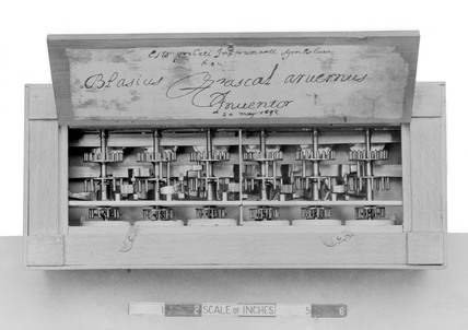 Pascal's first calculating machine, 1632.