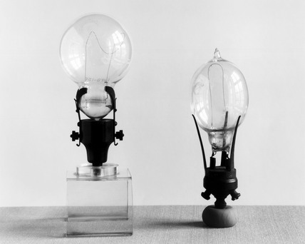 Two Ediswan type lamps, c 1890.