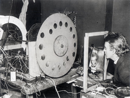 John Logie Baird experimenting with his first television transmitter, 1925.